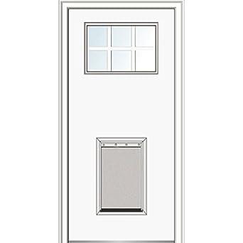 National Door Company Fiberglass Smooth Exterior Prehung Door, In Swing,  Craftsman 6