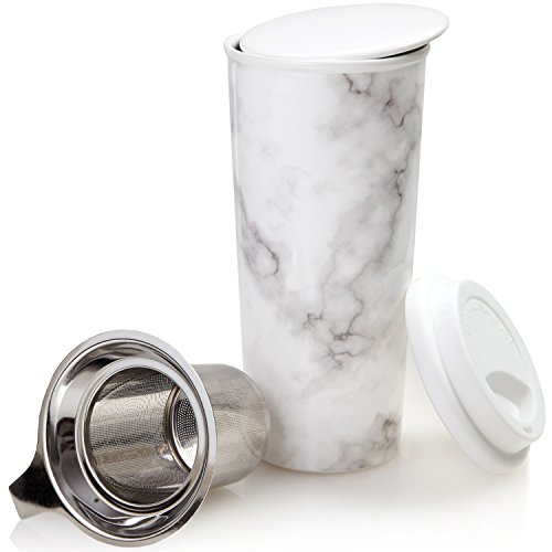 Ceramic Travel Mug with Lid. Double-Walled Insulated Cup comes with Deep Stainless Steel Tea Infuser and Bonus Silicone Top. Extra Tall Single Cup Perfectly Steeps Loose Leaf Tea … (Marble, 16 oz) - Marble Top Single