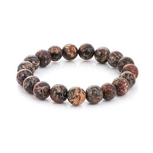 Gemstone Bead 7-1/2 Inch Stretch Bracelet (Leopard Skin Jasper)