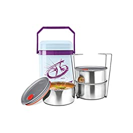 Milton Mariner Deluxe 3 Plastic Leak Lock Tiffin Box Set, 4-Pieces, Purple