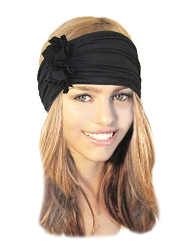 Stretch Chunky Wide Head-Band, Hair-Band, Black Boho Chic Head-Wrap - 056 (Headwrap Cotton Lightweight)