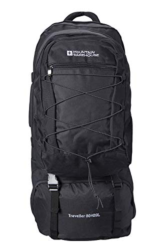 Mountain Warehouse Traveller 60 + 20L Backpack - for Camping, Outdoor Black