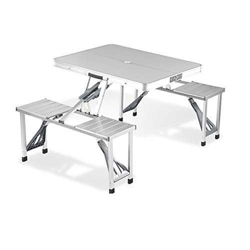 Adalantic Picnic Table,Aluminum Folding Camping Table with 4 Seats Indoor Outdoor Portable Suitcase...