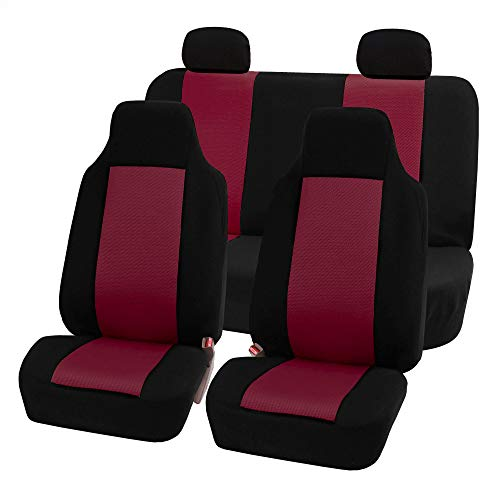 FH Group FB102114 Classic Full Set High Back Flat Cloth Car Seat Covers, Burgundy/Black w. Free Air Freshener- Fit Most Car, Truck, SUV, or Van ()
