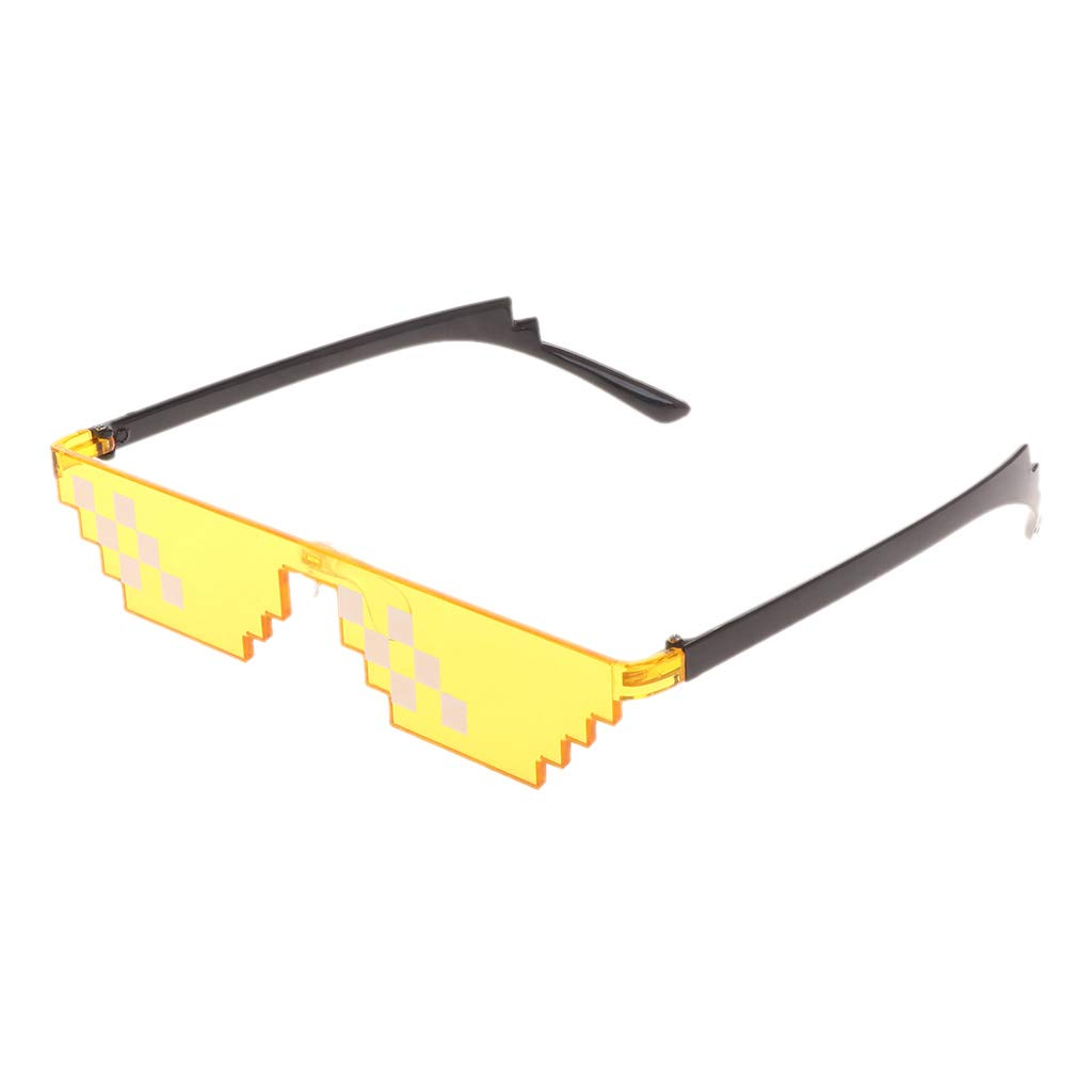 Sirchti Colorful Mosaic Sunglasses Toy Life Glasses Deal with It Glasses Pixel Funny Toy (Yellow)