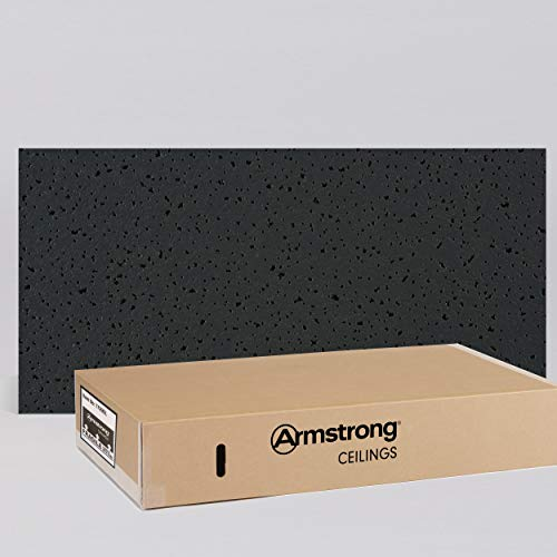 Armstrong Ceiling Tiles; 2x4 Ceiling Tiles - HUMIGUARD Plus Acoustic Ceilings for Suspended Ceiling Grid; Drop Ceiling Tiles Direct from the Manufacturer; FINE FISSURED Item 1729BL - 12 pc Layin Black