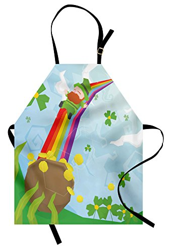 Ambesonne St. Patrick's Day Apron, Abstract Cartoon Happy Leprechaun Sliding Down Rainbow Gold and Shamrock, Unisex Kitchen Bib Apron with Adjustable Neck for Cooking Baking Gardening, Multicolor