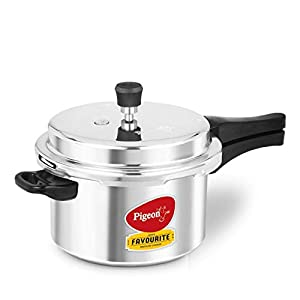 Pigeon by Stovekraft Favourite Non-induction bas Aluminium Pressure Cooker, 5 Litres, Silver