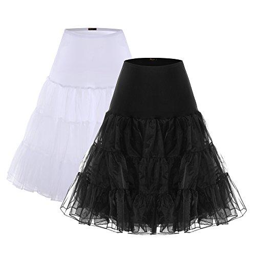 BAOMOSI Women's 50s Vintage Petticoat Skirts Crinoline Tutu Underskirts 2PACK ()