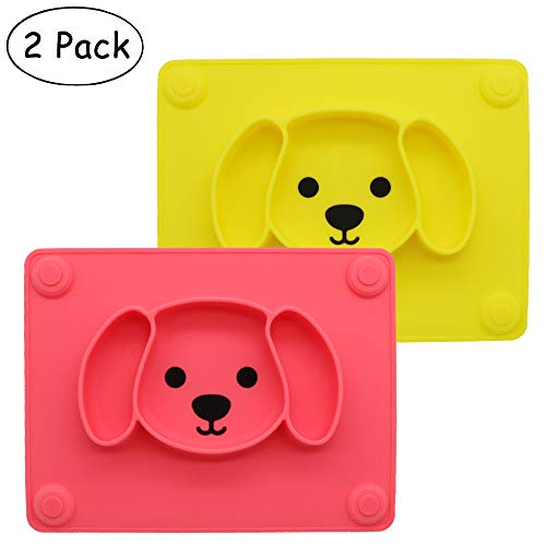 Baby Silicone Suction Placemat + Plates - Food Feeding Divided Mat for Kids and Toddlers Fits Most Highchair Trays - Easily Wipe Clean - Dishwasher and Microwave Safe (Yellow & Pink)