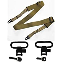 """Ultimate Arms Gear Two QD 1"""" Slot Loop 0.5 & 0.75"""" Inch Wood Screws Studs Type Swivels with Spacers + Two-Point Sling, Tan Springfield Armory, M1A, M1-A Garand/Carbine, Socom Rifle"""