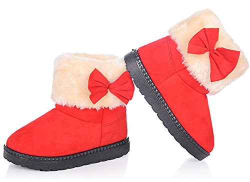 DADAWEN Baby's Girl's Toddler Fashion Cute Bowknot Fur Lining Princess Warm Snow Boots Red US Size 11 M Little Kid