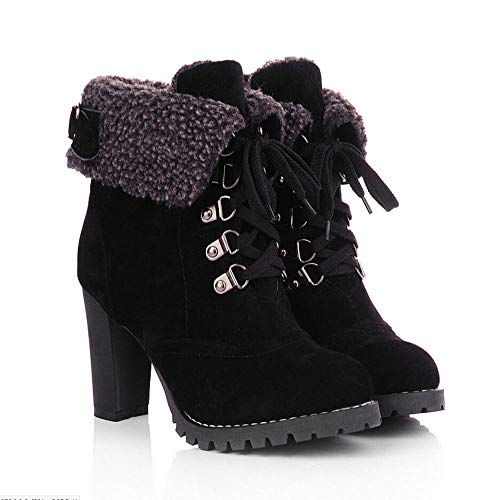 Heel High Boots Shoe Boots Thick Bringbring Black High Short Womens Ankle 4qAU5wz