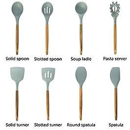 Home Hero Silicone Cooking Utensils Kitchen Utensil Set – 8 Natural Acacia Wooden Silicone Kitchen Utensils Set – Silicone Utensil Set Spatula Set – Silicone Utensils Cooking Utensil Set