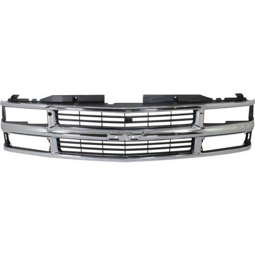 Grille Assembly Compatible with CHEVY CK SERIES 1994-2000/SUBURBAN 1994-1999 Cross Bar Insert Chrome with Dual/Composite Headlight