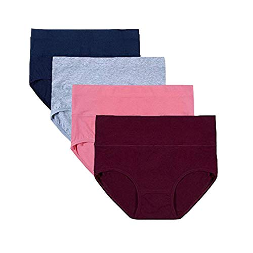 Full Coverage Seam - BAWESO Womens High Waisted Cotton Underwear Full Coverage Panties Briefs, Super Stretchy and Soft Underpants 4 Pack (XXL (Waist 34-37