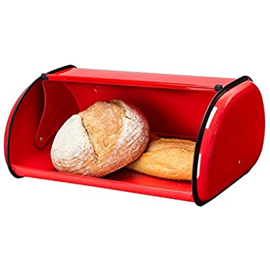 Greenco High Quality Stainless Steel Bread Bin Storage Box, Roll up Lid (Red)