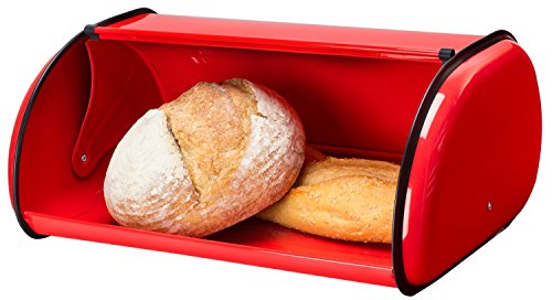 (Greenco Stainless Steel Bread Bin Storage Box, Roll up Lid (Red))