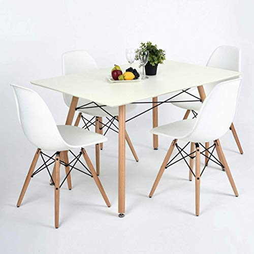 Dining Table FurnitureR Modern Retro Design Square Dining Table Desk with Beech Wooden Legs