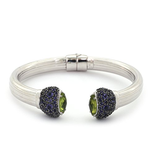 Midnight Sterling Silver Iolite & Peridot Cuff Bangle Bracelet