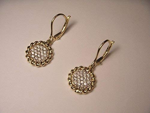 Gorgeous 14K Yellow Gold Invisible Setting Diamond Round Drop Dangle Earrings ()