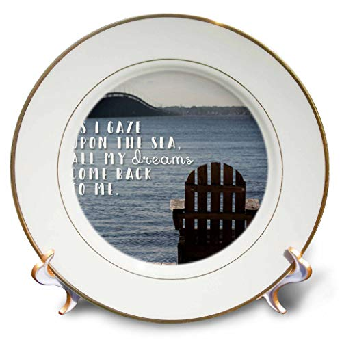 (3dRose Stamp City - Landscape - Photo of an Adirondack Chair on a Dock Looking Over The Barnegat Bay. - 8 inch Porcelain Plate (cp_293518_1))