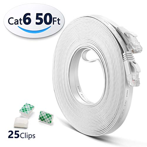 Cat6 Ethernet Cable 50ft White with 25 pcs Cable Clips, LAN Cable-XINCA Network Cable with Snagless Rj45 Connectors - 50 feet White(15.2 Meters) by XINCA