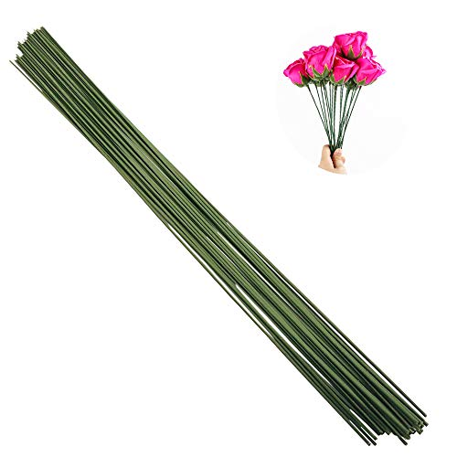 Arlai Pack of 50, Diameter 2mm Dark Green Paper Wrapped Floral stem Wire 16 Inch Floral Stem Wire - DIY Bouquet Stem Wrapping and ()