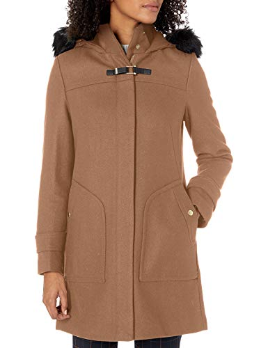 Cole Haan Women's Wool Twill Long Duffel Coat, Camel, 4
