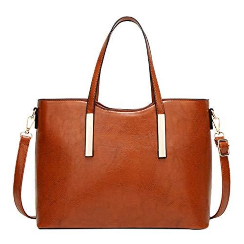 (Claystyle Women Ladies Girls Solid Large Capacity ToteHandbagShoulder Crossbody Bag Brown)