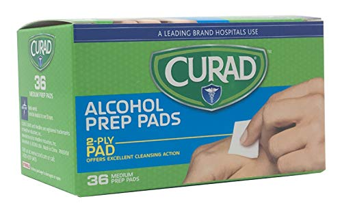Curad Alcohol Prep Pads, 2-Ply Alcohol Swabs, Medium Size (Case of 1,080)