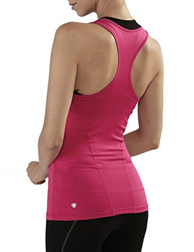 Yoga Reflex Women's Racerback Activewear Gym Sports Yoga Running Tank Top , Hotpink , X-Large