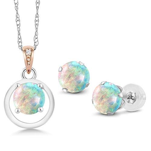 Gem Stone King 925 Silver & 10K Rose Gold Cabochon Simulated Opal Diamond Pendant Earrings Set