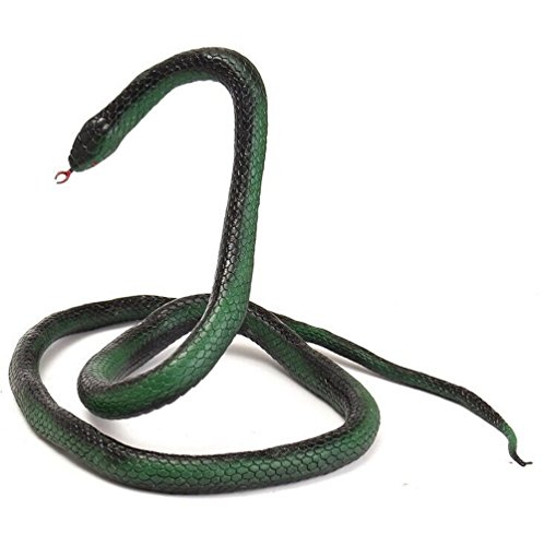 CHY Realistic Manmade Soft Rubber Animal Fake Snake Garden Props Joke Prank Toy 52 Inch Long Simulated Animal Snake Decoration Fake Snake for Home Party Christmas Display (This Is Halloween Pics)