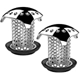 Uxoz 2 Pack Drain Hair Catcher,Stainless Steel Bathtub Drain Protector, Anti-Rust and No Mold, Match Drain Inner Diameter from 1.35'' to 1.75'' (Silver-2pcs)