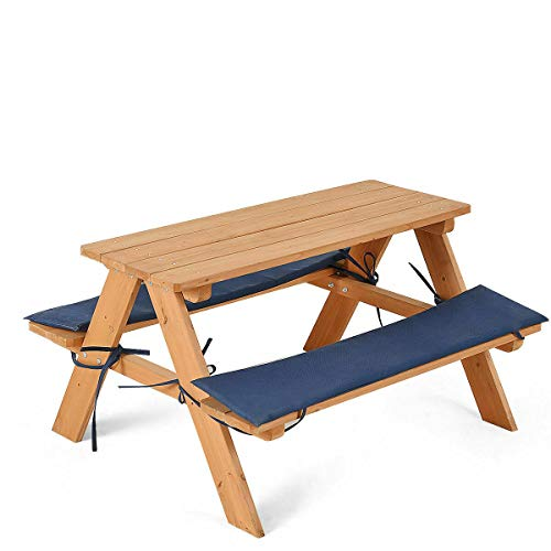 AyaMastro 35Inches Wooden Patio Picnic Table Bench Set Outdoor Desk with Detachable Padded Cushions with Ebook