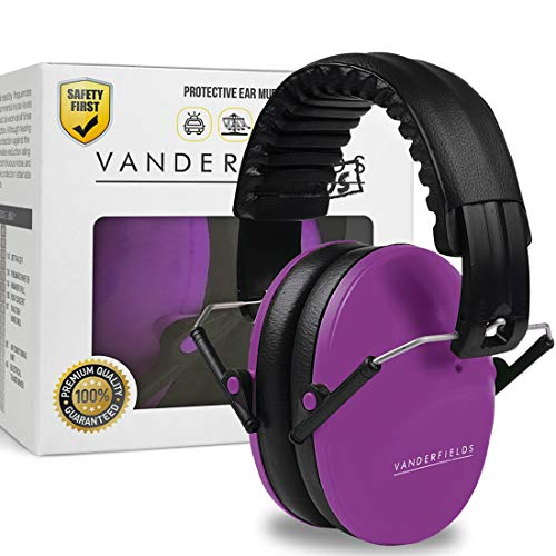 Foldable Headband Design - Vanderfields Earmuffs for Kids Toddlers Children - Hearing Protection Ear Defenders for Small Adults Women - Foldable Design Ear Defenders Adjustable Padded Headband Noise Reduction (Purple Power)