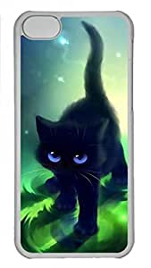 Transparent Hard Plastic Case for iPhone 5C,Black Cat kitty Case Back Cover for iPhone 5C