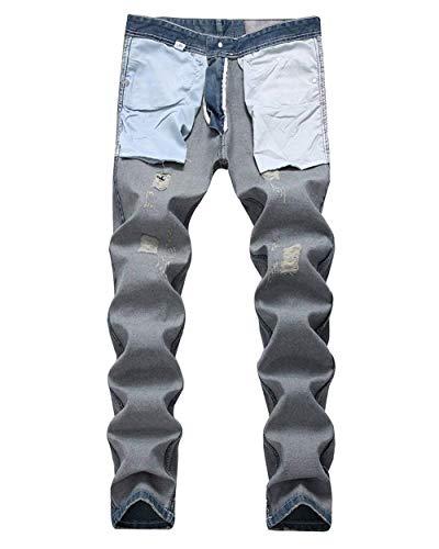 Jeans In Casual Distrutti Con Fit Stile Pantaloni Hellblau Da Skinny Buchi Strappati Vintage Dritto Uomo Denim Slim Cher IBSqa