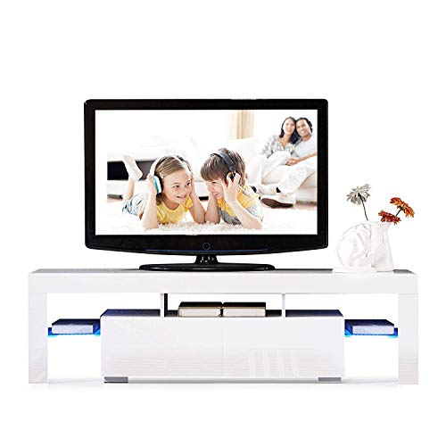 LED TV Stand with 2 Drawers and Shelves for Up to 63 Inch TV Screens, Living Room High Gloss Media Console Storage Cabinet (White)