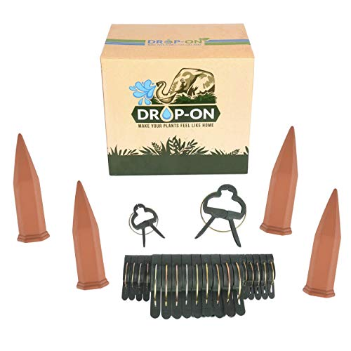 Drop-ON Ultimate Self Watering Ceramic Spikes for Garden Plants & Flowers | Innovative Slow Drip Irrigation Clay Stakes | Hassle-Free AutomaticTerracotta Spike Waterer 4-Pack | Bonus Plant Clips by DropON