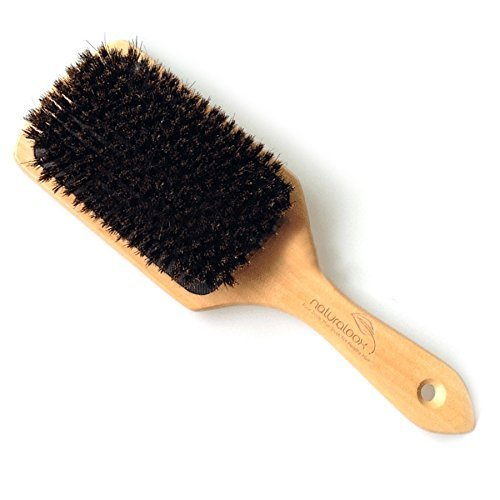 Naturaloox Pure 100% Natural Boar Bristle Paddle Hair Brush For Healthy Hair Distribute Natural Oils & Stimulate Scalp, Improve Hair Growth, Naturally Conditions Hair, Preventing Frizzy, Hair Loss by Naturaloox (Image #1)