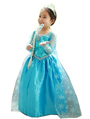 CXFashion Elsa Fantasia Baby Girls Cartoon Lace Party Dress Long Sleeves (4Y) (Toddler Fancy Dress)