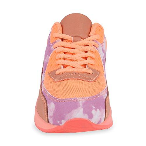 Stiefelparadies Trendige Unisex Laufschuhe Damen Herren Kinder Sportschuhe Metallic Glitzer Camouflage Sneaker Bunt Schnür Sport Turnschuhe Flandell Orange