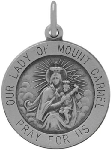 Mount Carmel Medallion (Sterling Silver Our Lady of Mount Carmel Medal Medallion with chain - 22)