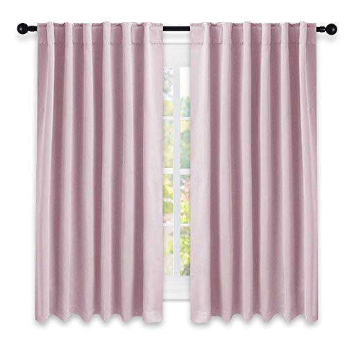Pink Tab Top Curtains - NICETOWN Bedroom Draperies Blackout Curtain Panels - (Lavender Pink/Baby Pink Color) 52 x 63 Inches, Set of 2 Panels, Solid Room Darkening Blackout Drapes for Living Room