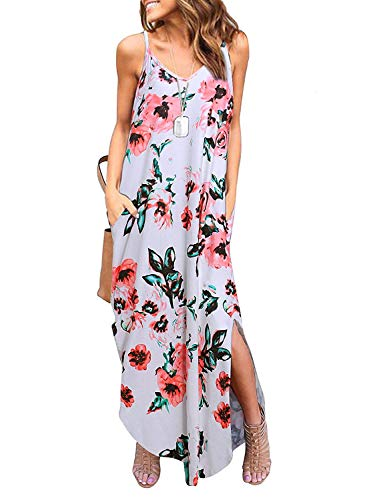 - coscoach Women's Summer Casual Strappy Long Dress Loose Beach Cami Split Maxi Dress with Pocket (Small, White Flower)