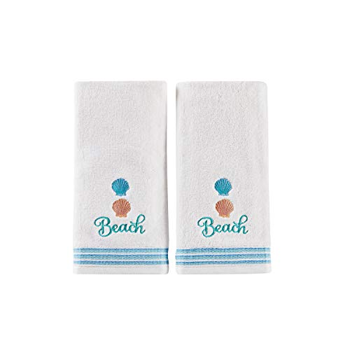 SKL Home by Saturday Knight Ltd. South Seas 2-Piece Hand Towel Set, White (Ocean Theme Towel Set)