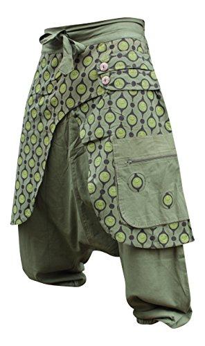 Shopoholic Moda Unisex Verde Negro Hippy Harén Ojos Pantalón Ejercito Verde