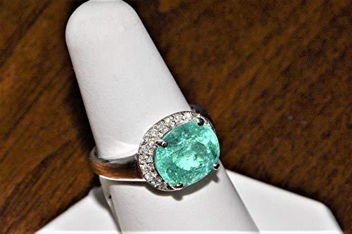 14k White Gold Paraiba Tourmaline and Diamond Ring